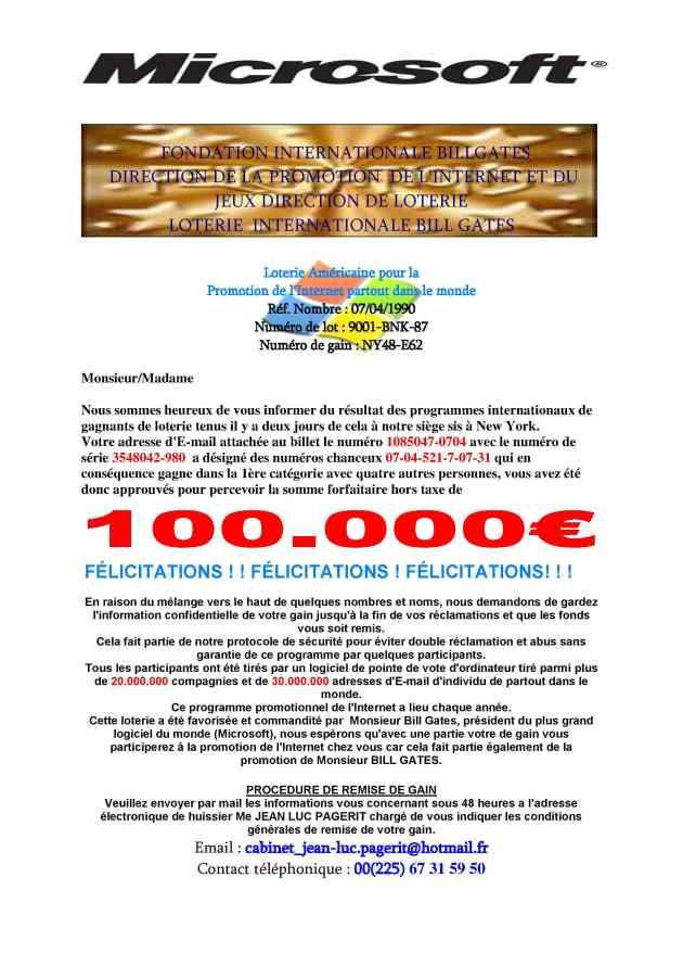 Fondation bill gates microsoft corporation loterie